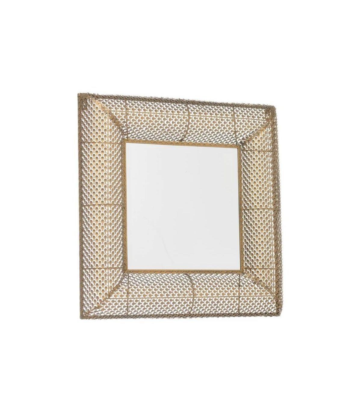 ebay - Espejo Pared Cuadrado Oro Viejo Metal 60x7x60