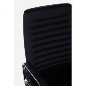 Sillón Oficina Truman Negra Patas Plata Ruedas 58x50x110