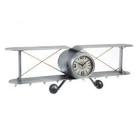 Reloj De Pared Avioneta Gris Metal 129x22x40