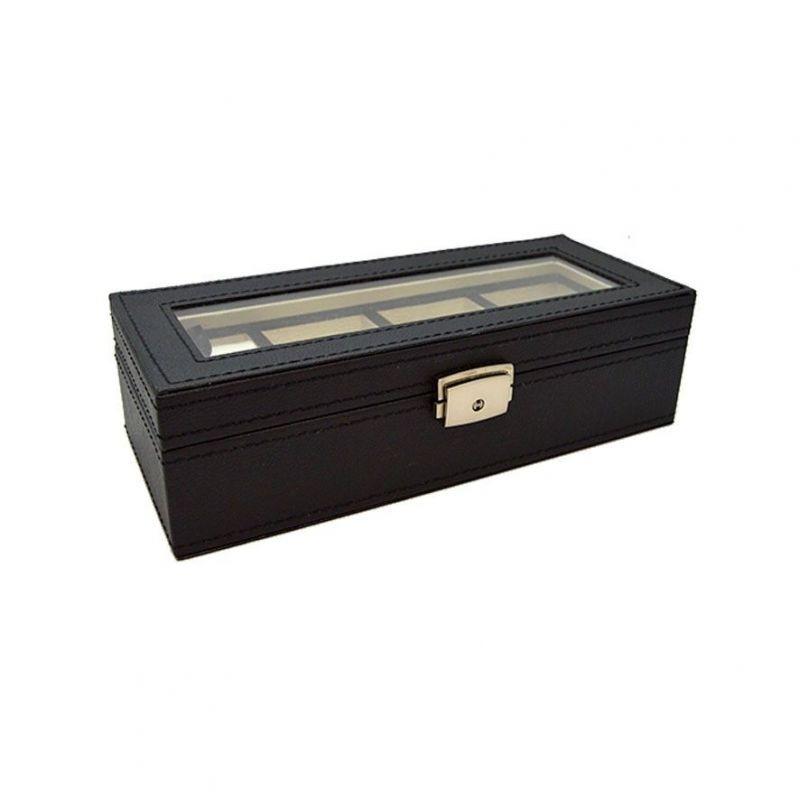 Caja Relojes Negra Polipiel - Relojero para cuatro unidades,fabricado en polipiel.Esideal para que guardes los relojes que más sueles ponerte.Al ser negro,será una apuesta segura en cuanto a regalos para hombres exigentes!!Medidas: 25 largo x 10 ancho x 7 alto - 39,90€